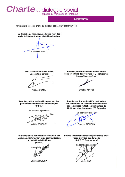 Signature de la charte du dialogue social du 20 octobre - Cabinet du ministre de l interieur ...